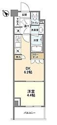 JR京浜東北・根岸線 大井町駅 徒歩9分の賃貸マンション 2階1DKの間取り