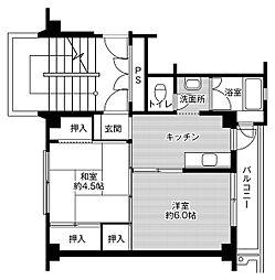 JR東北本線 南仙台駅 バス20分 仙台市営バス 袋原落合ポンプ場前下車 徒歩3分の賃貸マンション 3階2Kの間取り