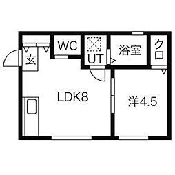 I・S・E 2階1LDKの間取り