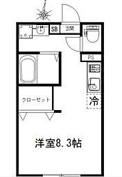 JR京浜東北・根岸線 蕨駅 徒歩4分の賃貸アパート 1階ワンルームの間取り