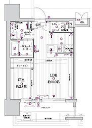 西鉄天神大牟田線 高宮駅 徒歩5分の賃貸マンション 10階1LDKの間取り