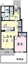 スタニングプレイスV 1階1LDKの間取り