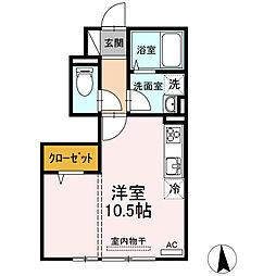 JR仙石線 榴ヶ岡駅 徒歩18分の賃貸アパート 1階ワンルームの間取り