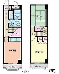 JR東北本線 仙台駅 徒歩17分の賃貸マンション 6階2DKの間取り