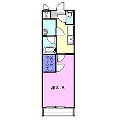 JR片町線(学研都市線) 住道駅 徒歩14分の賃貸アパート 2階1SKの間取り