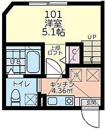 ルピナス 1階1Kの間取り