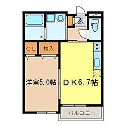 JR京浜東北・根岸線 大宮駅 徒歩18分の賃貸アパート 2階1DKの間取り