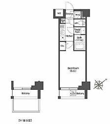 東急東横線 中目黒駅 徒歩5分の賃貸マンション 5階1Kの間取り
