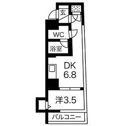 アイル新宿イースト 5階1DKの間取り