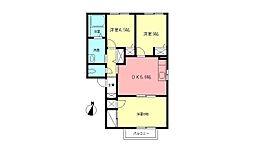JR東海道本線 鴨宮駅 バス8分 中里下車 徒歩9分の賃貸アパート 2階3DKの間取り