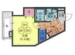 近鉄大阪線 長瀬駅 徒歩2分の賃貸アパート 1階1Kの間取り