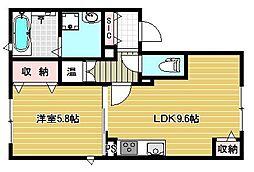 シャロームII 1階1LDKの間取り