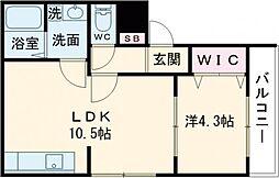 京阪本線 樟葉駅 バス15分 招堤元町下車 徒歩4分の賃貸アパート 3階1LDKの間取り