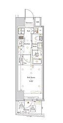 都営大江戸線 西新宿五丁目駅 徒歩22分の賃貸マンション 9階1Kの間取り
