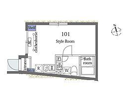 JR山手線 恵比寿駅 徒歩15分の賃貸マンション 3階ワンルームの間取り
