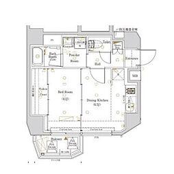 都営大江戸線 西新宿五丁目駅 徒歩22分の賃貸マンション 2階1DKの間取り