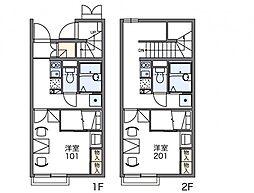 レオパレスやなぎ荘 第一 2階1Kの間取り