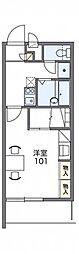 レオパレスアトラス折立II 1階1Kの間取り