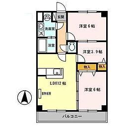 プリムローズヒル 弐番館 3階3LDKの間取り