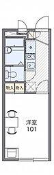 レオパレスコンフォート翠松 3階1Kの間取り