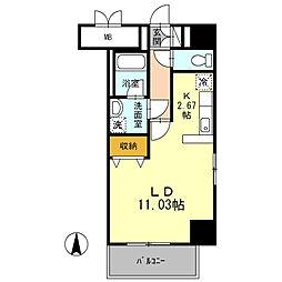 名古屋市営名城線 市役所駅 徒歩10分の賃貸マンション 4階ワンルームの間取り