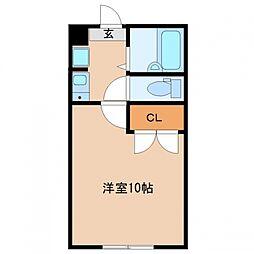 多賀城イーストB 2階1Kの間取り