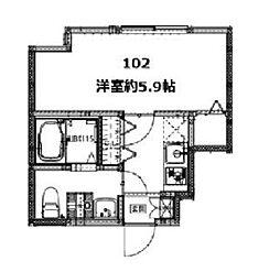 京急本線 雑色駅 徒歩8分の賃貸アパート 1階ワンルームの間取り