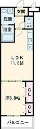 メナメゾン日根野II番館 1階1LDKの間取り