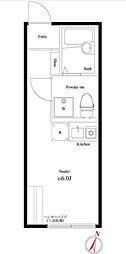 JR山手線 池袋駅 徒歩14分の賃貸アパート 3階ワンルームの間取り