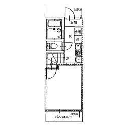 横浜市営地下鉄ブルーライン 港南中央駅 徒歩5分の賃貸アパート 2階1Kの間取り