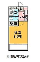 エクセレントホーム 4階1Kの間取り