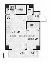 JR高徳線 昭和町駅 徒歩2分の賃貸マンション 3階ワンルームの間取り