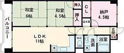ライオンズマンション本町第二 9階2SLDKの間取り