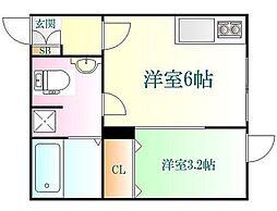 JR仙山線 国見駅 徒歩2分の賃貸アパート 1階ワンルームの間取り