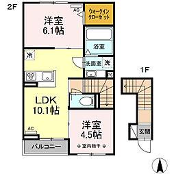JR東海道本線 浜松駅 バス18分 鉄工団地南停下車 徒歩4分の賃貸アパート 2階2LDKの間取り