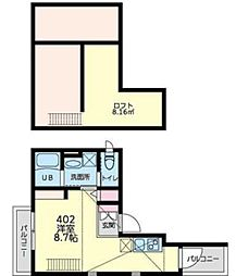 JR南武線 平間駅 徒歩9分の賃貸マンション 4階ワンルームの間取り