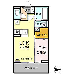 サニーコート 3階1LDKの間取り