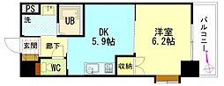 グローリ 2階1DKの間取り