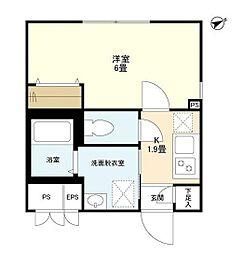 東急東横線 学芸大学駅 徒歩10分の賃貸マンション 3階1Kの間取り