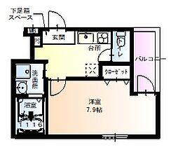 近鉄奈良線 河内花園駅 徒歩4分の賃貸アパート 2階1Kの間取り