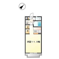 静岡県浜松市北区根洗町の賃貸マンション 5階ワンルームの間取り