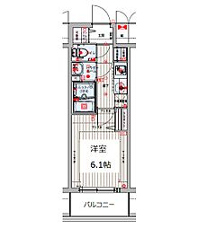 プレサンス THE TENNOJI 逢阪トゥルー 8階1Kの間取り