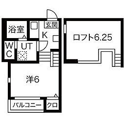 JR東北本線 南仙台駅 徒歩10分の賃貸アパート 2階ワンルームの間取り