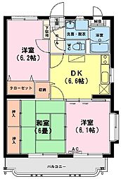 スターマンション・M 1階3DKの間取り