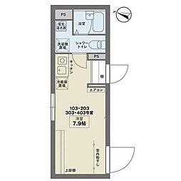 京王線 幡ヶ谷駅 徒歩6分の賃貸マンション 1階ワンルームの間取り