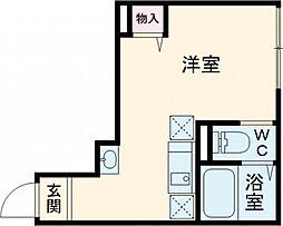 JR総武線 東中野駅 徒歩11分の賃貸アパート 3階ワンルームの間取り