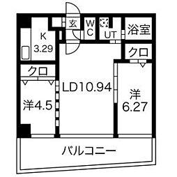 AMS海宝楼 1階2LDKの間取り