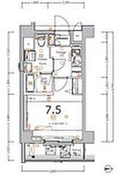 XEBEC大鳥居IV 6階1Kの間取り
