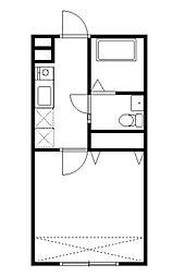 JR中央線 西八王子駅 徒歩10分の賃貸アパート 2階1Kの間取り