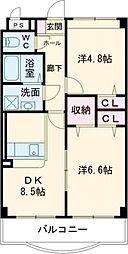 ロイヤル大成町1号館 3階2DKの間取り